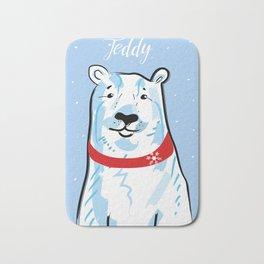 teddy polar bear light bue Bath Mat