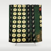 numbers Shower Curtains featuring Numbers by Hazel Bellhop