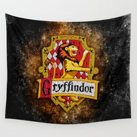 gryffindor Wall Tapestries featuring Gryffindor team flag iPhone 4 4s 5 5c, ipod, ipad, pillow case, tshirt and mugs by Three Second