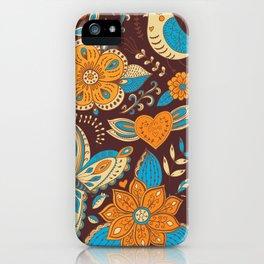 Floral Khokhloma pattern iPhone Case