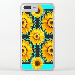 SOUTHWESTERN STYLE TURQUOISE SUNFLOWERS Clear iPhone Case