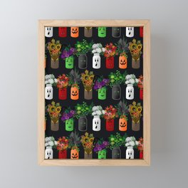 Halloween Mason Jar Bouquets Framed Mini Art Print