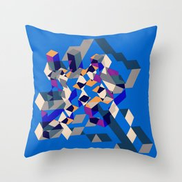 Blue collage Throw Pillow
