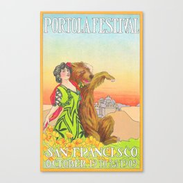 Lady cuddling a Bear at the Portola Festival of 1913  in San Francisco Canvas Print