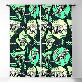 90's Dinosaur Skeleton Neon Pattern Blackout Curtain