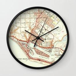 Vintage Map of Newport Beach California (1951) Wall Clock