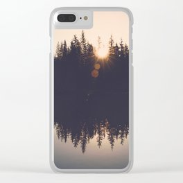 Wooded Lake Reflection  - Nature Photography Clear iPhone Case