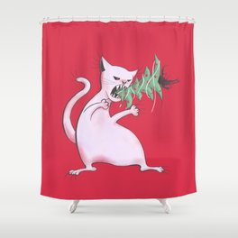 Funny Fat White Cat Eats Christmas Tree Shower Curtain