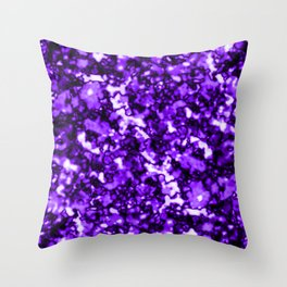 A bright cluster of violet bodies on a dark background. Throw Pillow