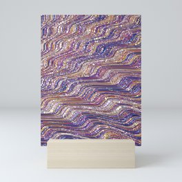 tia - abstract wave design in cool tones champagne pink blue mauve purple Mini Art Print