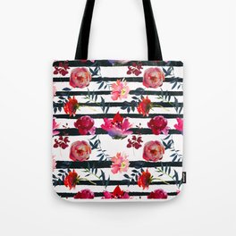 Scattered Magenta and Pink Blossom on White with Black Stripes   Tote Bag