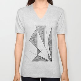 Triangles perspective geometric ink-pen drawing Unisex V-Neck