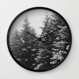 The Pine Tree Forest (Black and White) Wall Clock