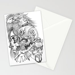 Skull Girl and Tiger Stationery Cards