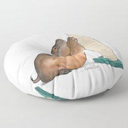 HippoCat at His Post Floor Pillow