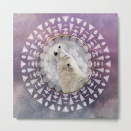 Mandala Solar Wolf Metal Print