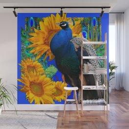 #2 BLUE PEACOCK &  SUNFLOWERS BLUE MODERN ART Wall Mural