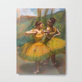 """Edgar Degas """"Two dancers in yellow"""" Metal Print"""