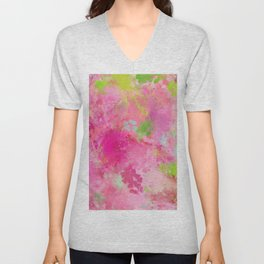 Pink neon green abstract look Unisex V-Neck