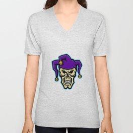 Court Jester Skull Mascot Unisex V-Neck