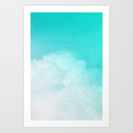 Happy Pastel Clouds | Turquoise Art Print