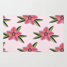 Old school tattoo flower pattern in pink Rug