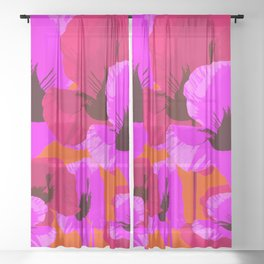 Pink And Red Poppies On A Orange Background - Summer Juicy Color Palette - Retro Mood Sheer Curtain