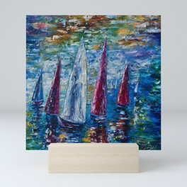Sails To-night oil painting with Palette Knife Mini Art Print