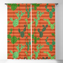 Cactus Prickly Pear Seamless Pattern Blackout Curtain