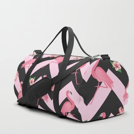 Black and pink Zig Zag With Flamingos and hawaiian flowers Pattern Duffle Bag