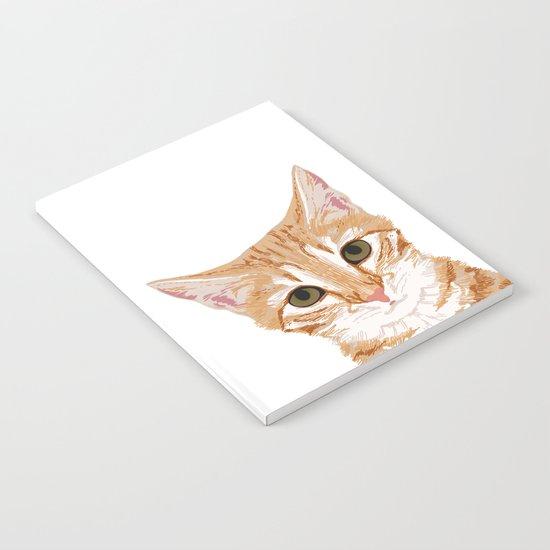 Peeking Orange Tabby Cat - cute funny cat meme for cat ladies cat people Notebook