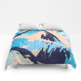 Blue Maritime Nautical Brushstroke Pattern Comforters