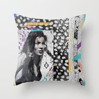 kate moss Throw Pillows featuring KATE MOSS TRIBE by Vasare Nar