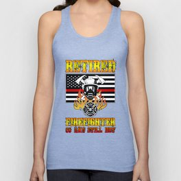 Retired Firefighter 65th Birthday Thin Red Line Flag Unisex Tank Top