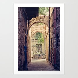 Jerusalem Alley with Bicycle Art Print
