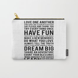 "Inspirational Quote ""Family Rules"" Subway Stlye Family Typography Nursery Print Motivational Quote Carry-All Pouch"