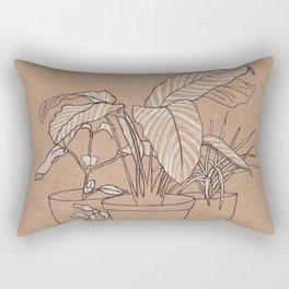 black and white house plants Rectangular Pillow
