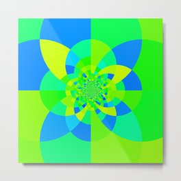 Green & Turquoise Kaleidoscope Design Metal Print