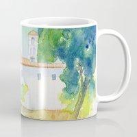 greek Mugs featuring Greek monastery by Carl Conway