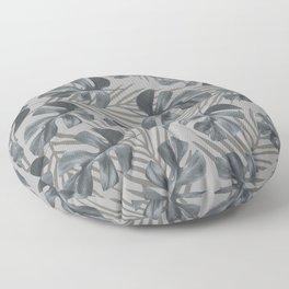 Monstera leaves Palm leaves grey Floor Pillow