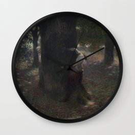 'A Game of Teasing,' Love Struck Couple portrait painting by Franz von Stuck Wall Clock