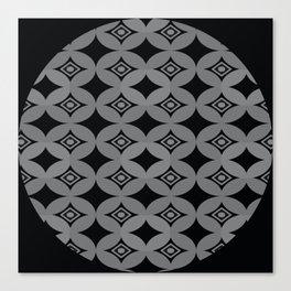 Kawung Black (Batik) Canvas Print