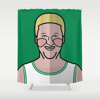 larry Shower Curtains featuring Larry Bird by Will Wild
