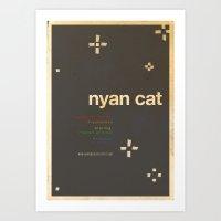 movie posters Art Prints featuring Nyan Cat - Meme Movie Posters by Stefan van Zoggel