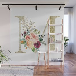 M Monogram Gold Foil Initial with Watercolor Flowers Wall Mural