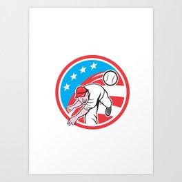 Baseball Pitcher Outfielder Throwing Ball Circle Cartoon Art Print