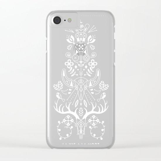 La Vie + La Mort: White Ink Clear iPhone Case