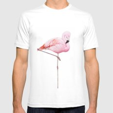 Flamingo MEDIUM White Mens Fitted Tee