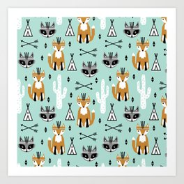 Fox and raccoon cute kids pattern teepee arrows southwest animals girls and boys decor Art Print