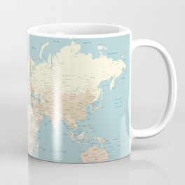 "Cream, brown and muted teal world map, ""Jett"" Coffee Mug"